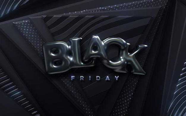 Rótulo de venda de sexta-feira negra com letras de balões pretos em fundo preto geométrico