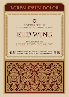 Rótulo de vinho vintage com moldura floral