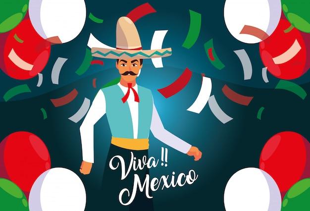Rótulo de viva méxico com homem com traje típico mexicano