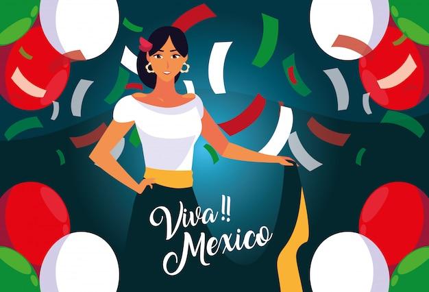 Rótulo de viva méxico com mulher com traje típico mexicano