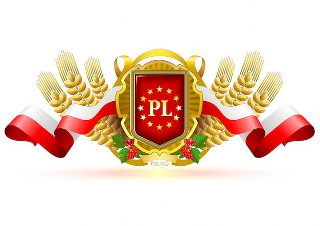 Rótulo decorativo de polónia com cores nacionais.