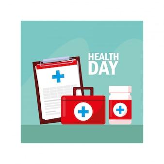 Rótulo do dia mundial da saúde com medicamentos