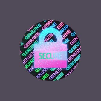 Rótulo do holograma isolado. etiqueta holográfica do vetor. selo de holograma geométrico para garantia do produto, design de etiqueta. símbolo de certificação do produto. etiqueta holográfica de qualidade.