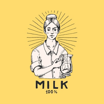 Rótulo do leite. mulher agricultora, leiteira e / ou garrafa. logotipo da fazenda vintage para loja rural. emblema para t-shirts. esboço de gravura desenhado à mão.