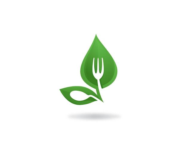 Rótulo do logotipo de alimentos verdes saudáveis e veganos