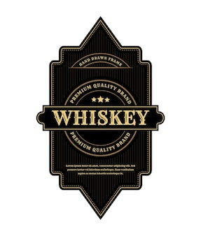 Rótulo do logotipo de molduras de embalagens de luxo vintage para garrafa de cerveja e uísque
