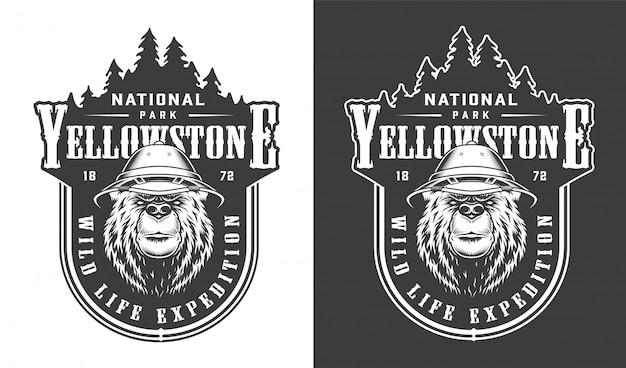 Rótulo do parque nacional de yellowstone vintage