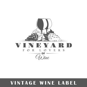 Rótulo do vinho isolado no fundo branco
