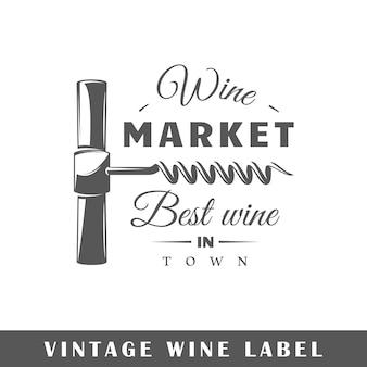 Rótulo do vinho isolado no fundo branco Vetor Premium