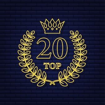 Rótulo dos 20 principais. ícone de coroa de louros de néon. ilustração em vetor das ações.