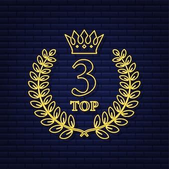 Rótulo dos 3 principais. ícone de coroa de louros de néon. ilustração em vetor das ações.