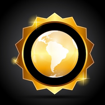 Rótulo dourado com mapa globo