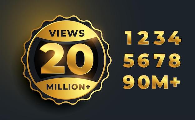 Rótulo dourado de 20 milhões de visualizações de vídeo