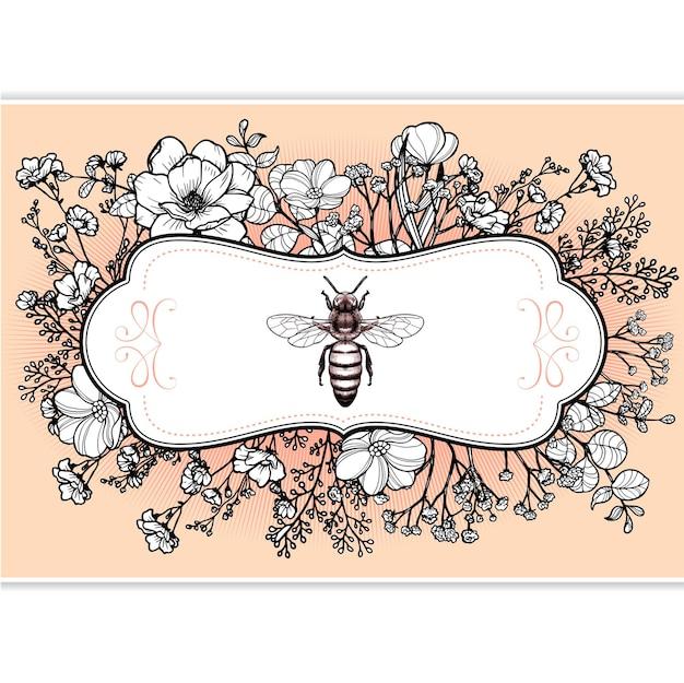 Rótulo elegante vintage de boticário vitoriano de ervas com abelha-rainha e flores