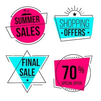 Rótulo geométrico de vendas de verão