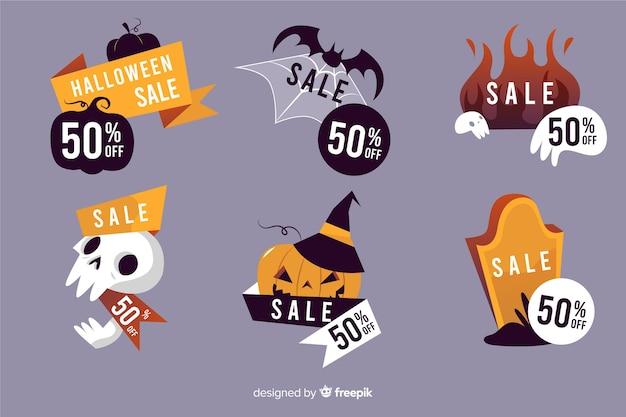 Rótulo halloween coleção mão desenhada