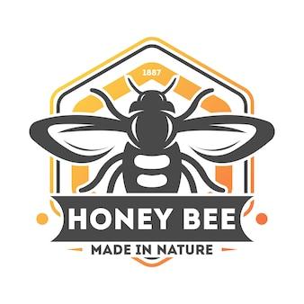 Rótulo isolado vintage de abelha do mel