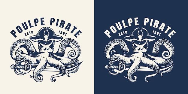 Rótulo marinho e do mar vintage com poulpe no chapéu de pirata com sabre no estilo monocromático isolado