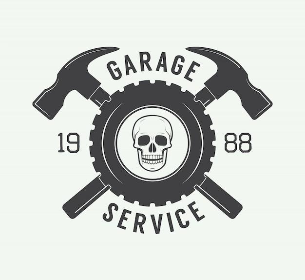 Rótulo mecânico, emblema e logotipo.