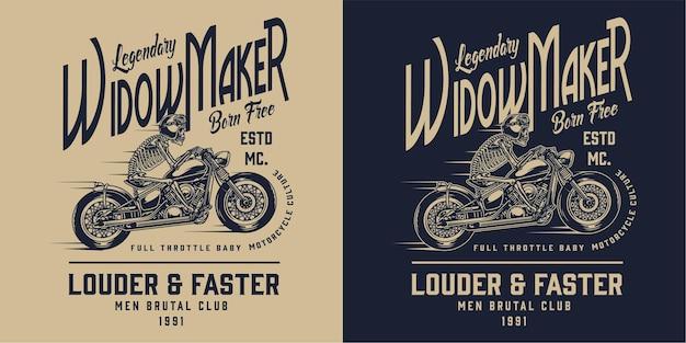 Rótulo monocromático de motocicleta vintage com inscrições e esqueleto de motociclista andando de moto na luz e no escuro