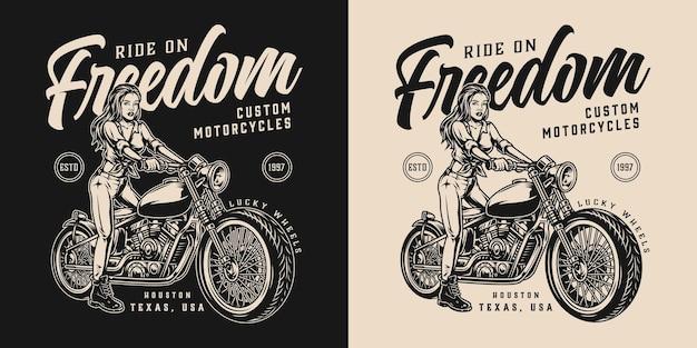 Rótulo monocromático vintage para motocicleta com motociclista bonita com cabelo comprido e motocicleta personalizada