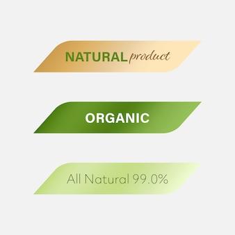 Rótulo natural e rótulo orgânico verde. bandeira moderna e emblemas de design.