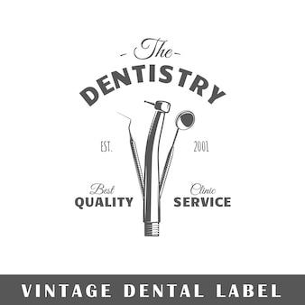 Rótulo odontológico isolado em fundo branco