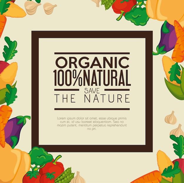 Rótulo orgânico com moldura e legumes coloridos sobre fundo bege. ilustração vetorial.