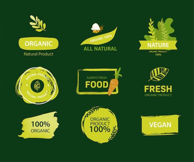Rótulo orgânico e cor verde de rótulo natural.