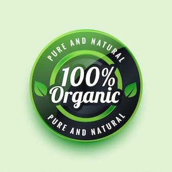 Rótulo ou crachá orgânico puro e natural