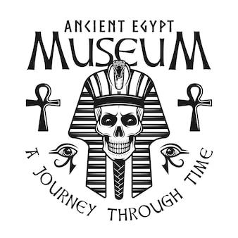 Rótulo ou emblema do museu do antigo egito com cabeça de crânio de faraó