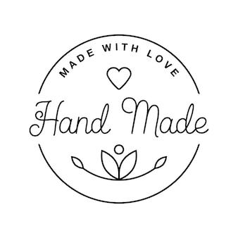 Rótulo ou logotipo com letras feitas à mão. ilustrações planas do vetor. emblema moderno e elegante. inscrição de linha fina artesanal, feita com amor, produto artesanal em branco.