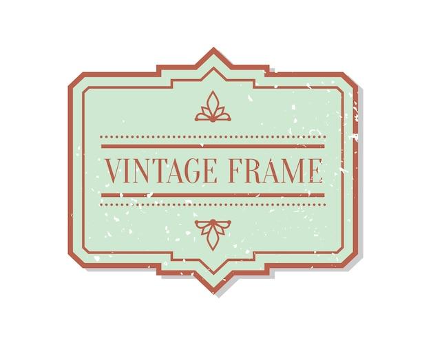 Rótulo plano do close up abstrato do vintage com elemento decorativo do grunge. modelo de texto de quadro de adesivo de pacote.