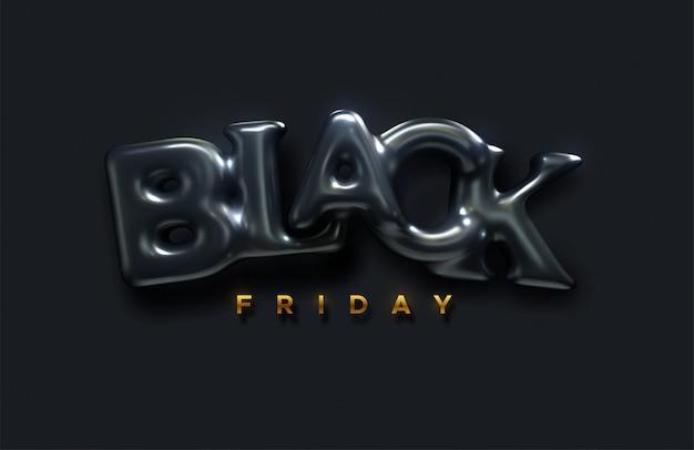 Rótulo preto venda de sexta-feira