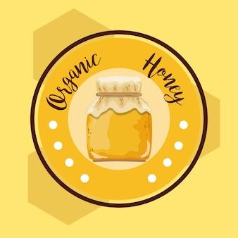 Rótulo redondo de mel orgânico