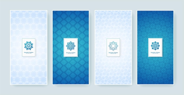 Rótulo retro azul e branco com logotipo caligráfico. coleção de monogramas antigos.