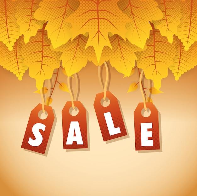 Rótulo sazonal de venda outono