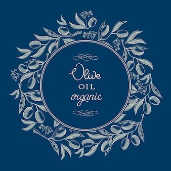 Rótulo vintage abstrato azeite azul oliva