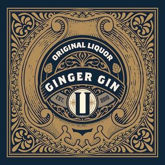 Rótulo vintage com licor de gin