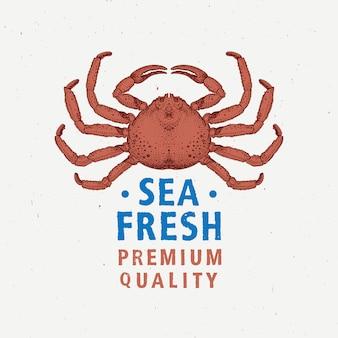 Rótulo vintage de frutos do mar com caranguejo vermelho.