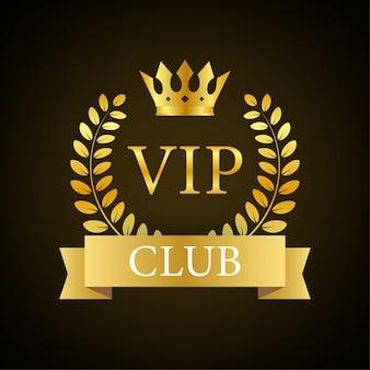 Rótulo vip club em fundo preto. ilustração das ações.