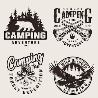 Rótulos de acampamento de verão vintage