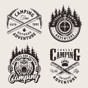 Rótulos de acampamento monocromáticos vintage