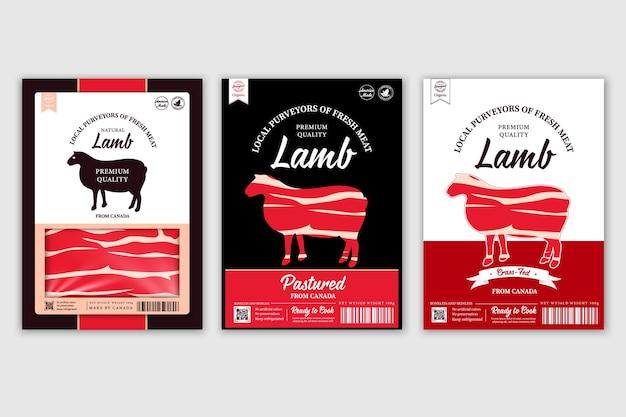 Rótulos de açougue com silhuetas de animais de fazenda vaca, frango, porco, cordeiro, ícones, peru e pato
