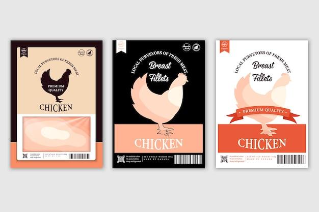 Rótulos de açougue com silhuetas de animais de fazenda vaca, galinha, porco, cordeiro, pato e carne