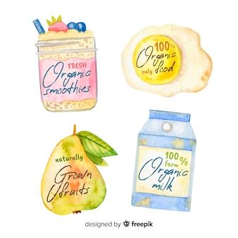 Rótulos de alimentos orgânicos em aquarela