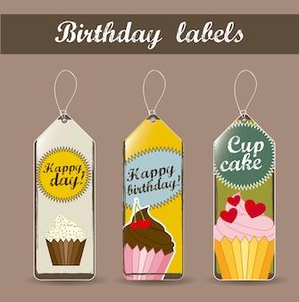 Rótulos de aniversário com ilustração em vetor estilo vintage bolos cup
