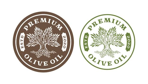 Rótulos de árvores de azeite em design vintage.