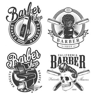 Rótulos de barbearia monocromático vintage