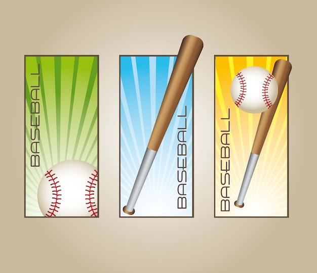 Rótulos de beisebol com bolas e morcegos vector illustration